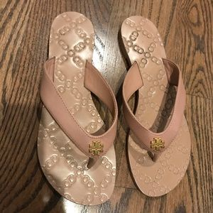 Tory Burch Thong Sandals Sz 6 Pink/Beige